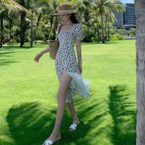 Dress Summer 2021 white S,M,L,XL Mid length dress singleton  Short sleeve commute Dot 18-24 years old Retro cotton
