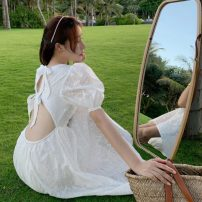 Dress Summer 2021 white S,M,L,XL Mid length dress singleton  Short sleeve Sweet square neck High waist Solid color zipper Big swing puff sleeve 18-24 years old Type A backless Bohemia