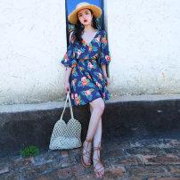 Dress Summer 2021 blue S,M,L,XL longuette singleton  Short sleeve Sweet V-neck Elastic waist Decor Socket A-line skirt other camisole 18-24 years old Type A Chiffon Bohemia