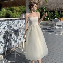 Dress Summer 2021 Off white Average size Mid length dress singleton  Sleeveless commute One word collar High waist Solid color Socket A-line skirt routine camisole 18-24 years old Type A Korean version backless other polyester fiber