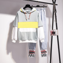 Women's large Spring 2021 Single pants, single sweater, single [Plush] sweater, picture color suit, [Plush] suit L [100-120 Jin], XL [120-140 Jin], 2XL [140-160 Jin], 3XL [160-180 Jin], 4XL [180-200 Jin] Other oversize styles Two piece set commute easy moderate Socket Long sleeves letter Hood routine