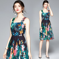 Dress Summer 2020 Decor S,M,L,XL,XXL Middle-skirt singleton  Sleeveless street square neck middle-waisted Decor zipper other camisole 25-29 years old Diamond inlay, printing Europe and America