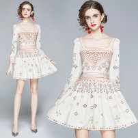 Dress Autumn 2020 Apricot M,L,XL,2XL longuette singleton  Long sleeves square neck middle-waisted zipper A-line skirt routine