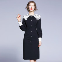 Dress Autumn of 2019 black S,M,L,XL,2XL singleton  Long sleeves commute Doll Collar middle-waisted Solid color zipper Pencil skirt bishop sleeve Others Lace, buttons, stitching