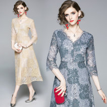 Dress Autumn of 2019 Grey, apricot S,M,L,XL,2XL longuette singleton  three quarter sleeve commute V-neck middle-waisted Decor other A-line skirt routine Others 25-29 years old Type A Retro 81% (inclusive) - 90% (inclusive) Lace nylon