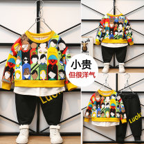 suit Other / other Yellow, sapphire blue 90cm,100cm,110cm,120cm,130cm,140cm male spring and autumn Long sleeve + pants routine nothing cotton Class B Cotton 90% polyester 10%