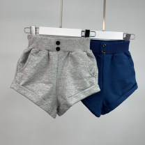trousers dazzing stars female 90cm,100cm,110cm,120cm,130cm Blue, gray summer shorts leisure time No model Casual pants Leather belt middle-waisted Pure cotton (100% content) Don't open the crotch Cotton 100% Class A