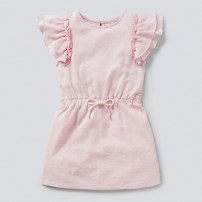 Dress Pink female jumping beans The recommended height is 80cm for 2T, 90cm for 3T, 100cm for 4T, 110cm for 5T, 120cm for 6T and 130cm for 7T Cotton 100% summer lady Short sleeve Solid color Pure cotton (100% cotton content) A-line skirt Class A