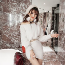 Dress Autumn of 2018 White, pink, black S, M singleton  Long sleeves commute One word collar Solid color Other / other other