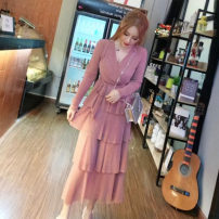 Dress Autumn of 2018 Pink, Burgundy, black Average size longuette singleton  Long sleeves Solid color Socket Cake skirt 18-24 years old Other / other Bright silk other