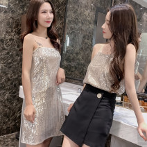Dress Spring of 2019 M, L Short skirt singleton  Sleeveless commute Crew neck middle-waisted zipper One pace skirt other camisole 18-24 years old Other / other 81% (inclusive) - 90% (inclusive)