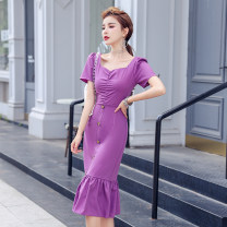Dress Summer 2021 Dark purple, light green S,M,L,XL Mid length dress singleton  Short sleeve commute V-neck Solid color Single row two buttons Ruffle Skirt Lotus leaf sleeve Type H Other / other Lotus leaf edge