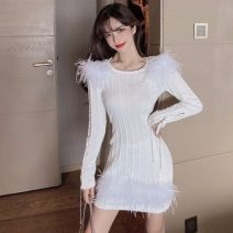 Dress Winter 2020 White, black Average size Mid length dress singleton  Long sleeves Sweet Crew neck High waist Solid color Socket Pencil skirt routine Others 18-24 years old Type X 31% (inclusive) - 50% (inclusive) knitting Chloroprene