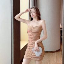 Dress Spring 2021 Gold, silver M, L Short skirt singleton  commute High waist Socket One pace skirt 18-24 years old Hollowing out