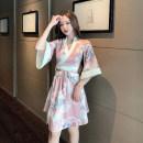 Dress Spring 2021 Black, pink S,M,L,XL singleton  three quarter sleeve commute Decor pagoda sleeve brocade