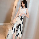 Dress Summer of 2019 white S,M,L,XL Middle-skirt Two piece set Sleeveless commute Crew neck Decor A-line skirt 18-24 years old Type A Other / other Bow, print 51% (inclusive) - 70% (inclusive) other other