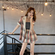 Fashion suit Summer of 2019 M. L, average size Hot drill bra, beige Plaid suit, red plaid suit Other / other