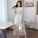 Dress Autumn of 2019 Apricot, green S,M,L Miniskirt singleton  Long sleeves commute V-neck middle-waisted Solid color Socket Big swing routine Type A Other / other Korean version