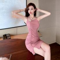 Dress Summer 2021 Dark pink S,M,L Short skirt singleton  Sleeveless commute other High waist Solid color Socket One pace skirt routine 25-29 years old Korean version polyester fiber