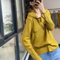 shirt Black, yellow, khaki, white, brown, dark grey Average size Autumn 2020 cotton 96% and above Long sleeves commute Regular Hood Socket routine Solid color Korean version DM1622 Splicing cotton