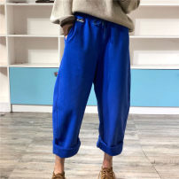 Casual pants blue Average size Autumn of 2019 trousers loose  High waist original thickening 96% and above ZW76912 cotton cotton