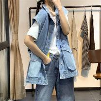 Vest Summer 2020 blue Average size routine stand collar Versatile Solid color Single breasted Hanging neck style 71% (inclusive) - 80% (inclusive) cotton