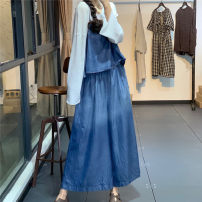 Casual pants Blue, black Average size Summer 2020 trousers Jumpsuit High waist original routine 96% and above ZW77073 cotton cotton