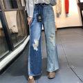 Casual pants blue S,M,L Summer 2020 Ninth pants Wide leg pants High waist commute routine 96% and above CMM195368 cotton literature cotton