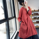 Dress Spring 2021 Grey, red Average size Mid length dress singleton  Nine point sleeve commute Crew neck Loose waist Solid color Socket A-line skirt routine Hanging neck style Type A Retro JS21083 More than 95% hemp