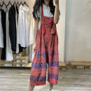 Casual pants Brick red Average size Summer of 2019 Ninth pants rompers High waist Versatile Thin money 96% and above cotton cotton
