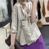 shirt Average size Summer 2020 hemp 96% and above Short sleeve Original design Regular V-neck Socket routine hemp