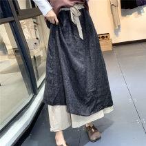 skirt Summer 2020 Average size Black, red, gray, khaki, apricot longuette commute High waist A-line skirt lattice Type A LZ8621 More than 95% hemp Retro