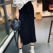 skirt Summer 2020 Average size White, black Middle-skirt Versatile High waist other Solid color Type A MQ29096 91% (inclusive) - 95% (inclusive)