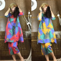 Fashion suit Summer of 2019 Average size New yellow flowers, new purple flowers 96% and above hemp