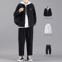 Jacket Damoson Youth fashion M L XL 2XL 3XL Plush and thicken easy Other leisure autumn Z12F4W515F7415F Polyester 100% Long sleeves Wear out Lapel Japanese Retro teenagers routine Single breasted Cloth hem No iron treatment Loose cuff Geometric pattern polyester fiber Autumn 2020 More than two bags)