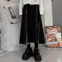skirt Spring 2021 M, L black Mid length dress Versatile High waist Irregular other Type A 18-24 years old Other / other Chain, zipper
