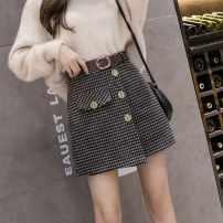 skirt Winter 2020 S,M,L,XL,2XL Black, Khaki Short skirt Versatile High waist A-line skirt lattice Wool Button