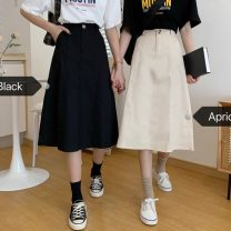 skirt Spring 2021 S,M,L Apricot, black longuette commute High waist A-line skirt Solid color Type A 18-24 years old 31% (inclusive) - 50% (inclusive) Other / other pocket Korean version