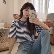 T-shirt Blue bar Average size Spring 2021 Short sleeve Crew neck easy Regular routine commute cotton 31% (inclusive) - 50% (inclusive) 18-24 years old Korean version Thick horizontal stripe Other / other