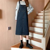 Dress Spring 2021 navy blue S,M,L Mid length dress singleton  Sleeveless commute One word collar High waist Solid color A-line skirt straps 18-24 years old Type H Other / other Korean version 31% (inclusive) - 50% (inclusive) other