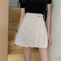 skirt Spring 2021 S,M,L Apricot, black Short skirt commute High waist A-line skirt Solid color Type A 18-24 years old 31% (inclusive) - 50% (inclusive) other Other / other other Korean version