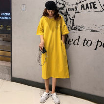 Dress Summer 2021 Yellow, black M,L,XL longuette singleton  Short sleeve commute Crew neck Loose waist Solid color Socket other routine Others 18-24 years old Type H Korean version 31% (inclusive) - 50% (inclusive)