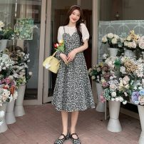 Dress Summer 2021 Two black flowers and two orchids S, M Mid length dress Fake two pieces Short sleeve commute Crew neck High waist Decor A-line skirt puff sleeve camisole 18-24 years old Type A Other / other Korean version 31% (inclusive) - 50% (inclusive)