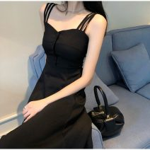 Dress Summer 2021 black S,M,L,XL Mid length dress singleton  Sleeveless commute V-neck High waist Solid color Socket A-line skirt camisole 18-24 years old Type A Other / other Korean version 31% (inclusive) - 50% (inclusive) other