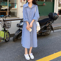 Dress Spring 2021 stripe Average size Mid length dress singleton  Long sleeves commute Polo collar Loose waist stripe Single breasted A-line skirt shirt sleeve Others 18-24 years old Type A Other / other Korean version 31% (inclusive) - 50% (inclusive) other other