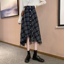 skirt Winter 2020 S,M,L Plaid skirt Mid length dress commute High waist A-line skirt lattice Type A 18-24 years old 31% (inclusive) - 50% (inclusive) Other / other Asymmetry, splicing Korean version