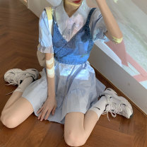 Dress Spring 2021 White shirt skirt, blue shirt skirt, light blue jeans sling, dark blue jeans sling Average size Short skirt singleton  Short sleeve commute Polo collar Loose waist Solid color Single breasted puff sleeve 18-24 years old Type A Other / other Korean version