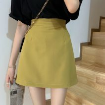 skirt Summer 2021 S,M,L Lemon yellow, white, black, fruit green Short skirt Versatile High waist A-line skirt Solid color Type A 18-24 years old 31% (inclusive) - 50% (inclusive) Other / other