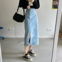 skirt Summer 2021 S,M,L Light blue, dark blue Mid length dress commute High waist Denim skirt Solid color Type H 18-24 years old 31% (inclusive) - 50% (inclusive) Other / other Korean version