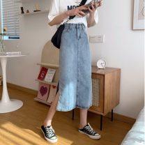 skirt Summer 2021 S,M,L,XL blue Mid length dress commute High waist Denim skirt Solid color Type A 18-24 years old 31% (inclusive) - 50% (inclusive) other Other / other other Korean version